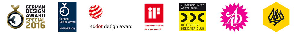 DesignAwards: German Design Award Special 2015, German Design Award 2014 Nominee, Red Dot Design Award, IF Design Award, DDC, ADC, D&AD